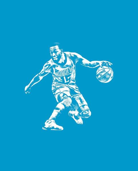 Wall Art - Mixed Media - Kemba Walker Charlotte Hornets T Shirt Apparel Pixel Art 3 by Joe Hamilton