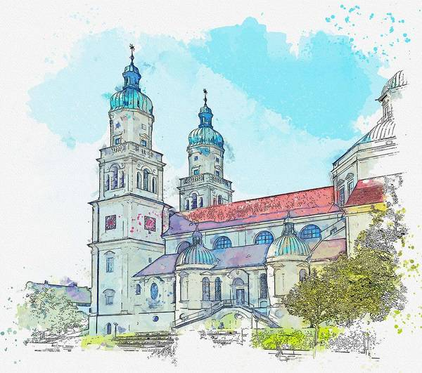 Wall Art - Painting - Kempten Baroque St Lorenz Basilica    Watercolor By Ahmet Asar by Celestial Images