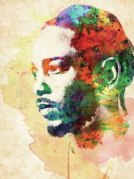 Hippy Digital Art - Kendrick Lamar Colorful Watercolor by Mihaela Pater