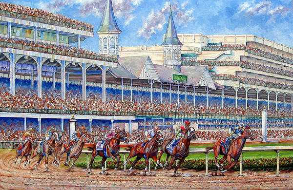 Wall Art - Painting - Kentucky Derby - Leading The Field by Mike Rabe