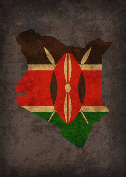 Kenya Mixed Media - Kenya Country Flag Map by Design Turnpike