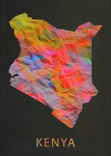 Kenya Mixed Media - Kenya Tie Dye Country Map by Design Turnpike