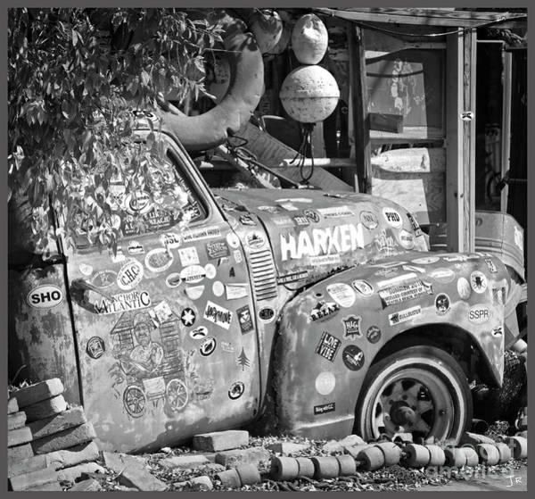 Wall Art - Photograph - Key West Florida - B O's Fish Wagon Truck Black And White Square by John Stephens