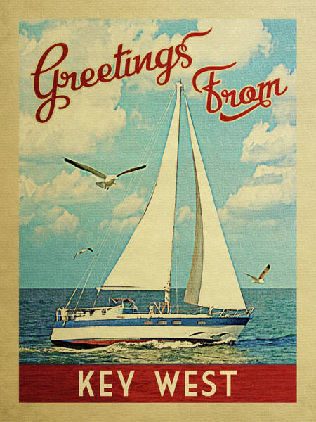 Wall Art - Digital Art - Key West Sailboat Vintage Travel by Flo Karp