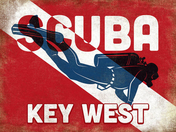 Dive Digital Art - Key West Scuba Diver - Blue Retro by Flo Karp
