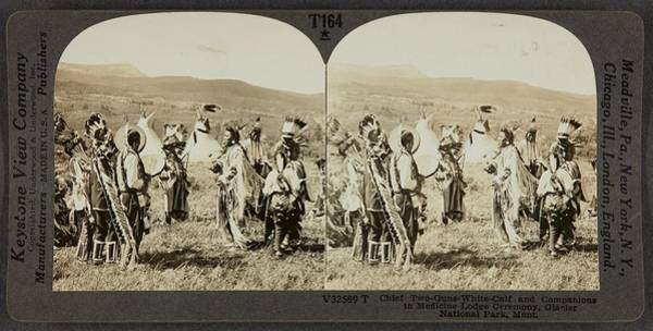 Painting - Keystone View Company American, 1892-1963 Chief Two-guns-white-calf And Companions In Medicine Lodge by Celestial Images