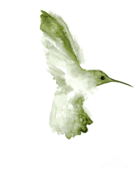 Wall Art - Painting - Khaki Green Hummingbird In Flight by Joanna Szmerdt