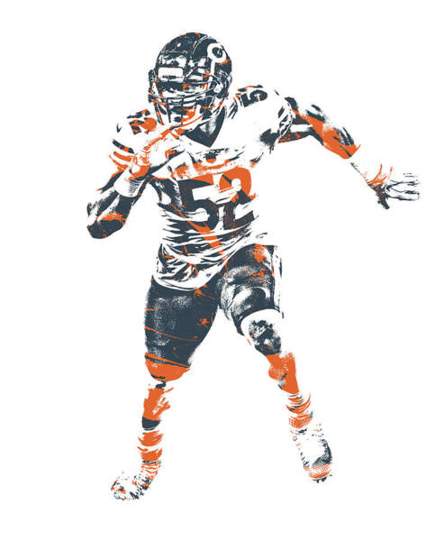 Wall Art - Mixed Media - Khalil Mack Chicago Bears Pixel Art 1 by Joe Hamilton