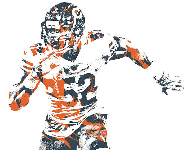 Wall Art - Mixed Media - Khalil Mack Chicago Bears Pixel Art 30 by Joe Hamilton