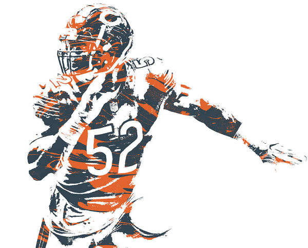 Wall Art - Mixed Media - Khalil Mack Chicago Bears Pixel Art 31 by Joe Hamilton