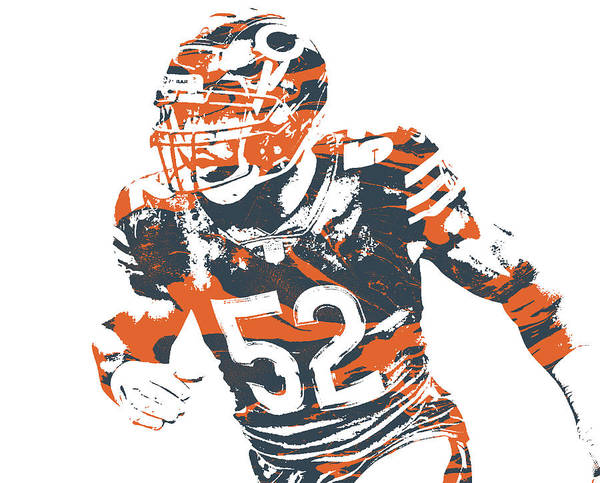Wall Art - Mixed Media - Khalil Mack Chicago Bears Pixel Art 32 by Joe Hamilton