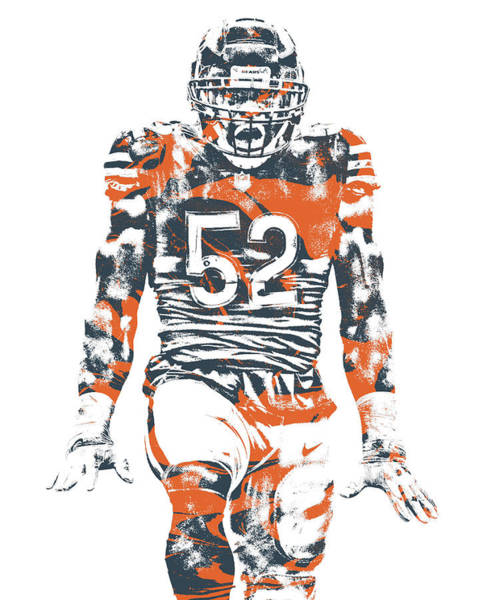 Wall Art - Mixed Media - Khalil Mack Chicago Bears Pixel Art 6 by Joe Hamilton