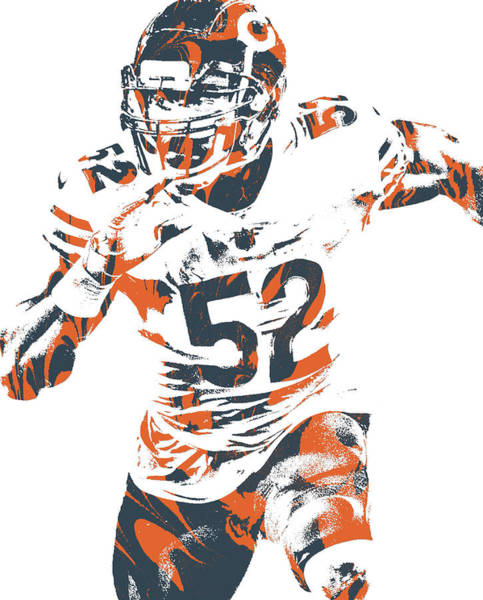 Wall Art - Mixed Media - Khalil Mack Chicago Bears Pixel Art 99a by Joe Hamilton