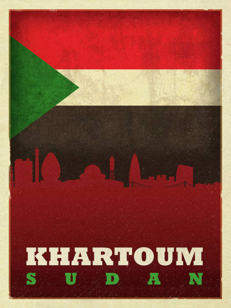 Wall Art - Mixed Media - Khartoum Sudan World City Flag Skyline by Design Turnpike