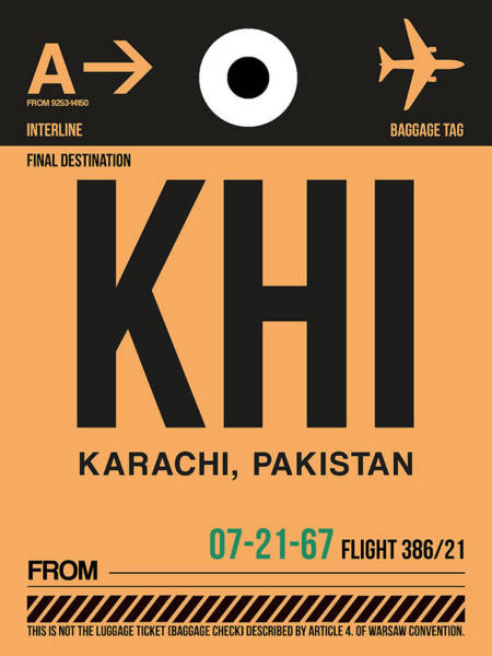 Wall Art - Digital Art - Khi Karachi Luggage Tag I by Naxart Studio