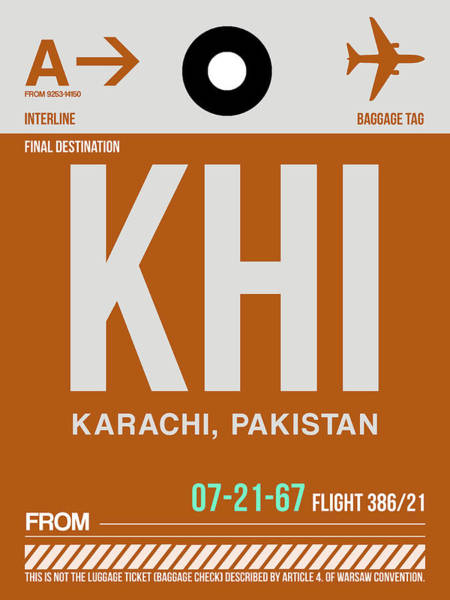 Wall Art - Digital Art - Khi Karachi Luggage Tag II by Naxart Studio
