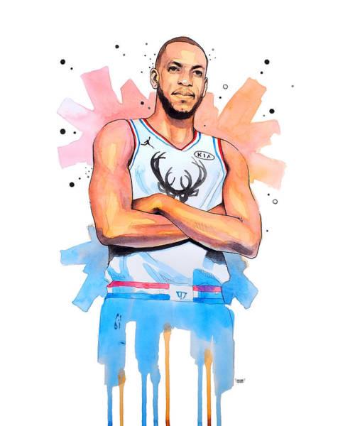 Buck Wall Art - Painting - Khris Middleton, Milwaukee Bucks by Wachira Kacharat