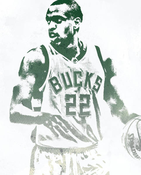 Wall Art - Mixed Media - Khris Middleton Milwaukee Bucks Water Color Pixel Art 1 by Joe Hamilton