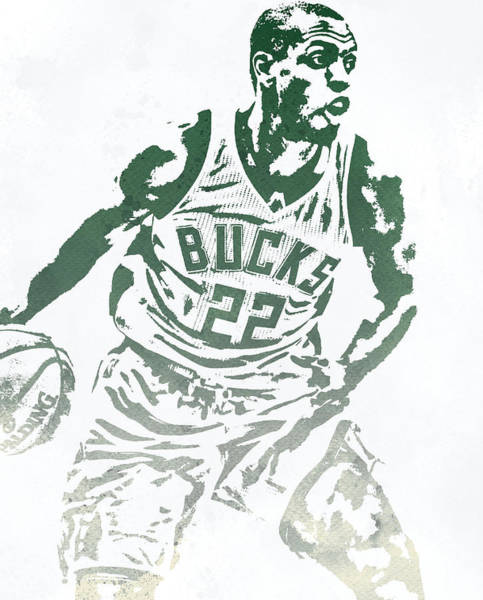 Wall Art - Mixed Media - Khris Middleton Milwaukee Bucks Water Color Pixel Art 2 by Joe Hamilton