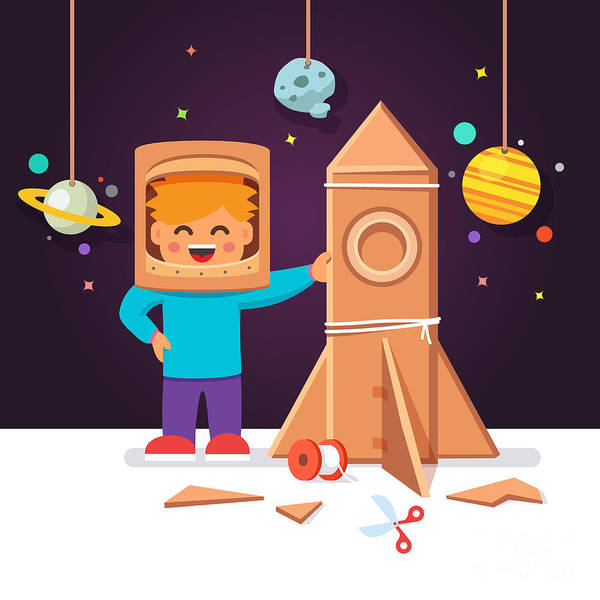 Wall Art - Digital Art - Kid Making Cardboard Box Rocket And by Iconic Bestiary