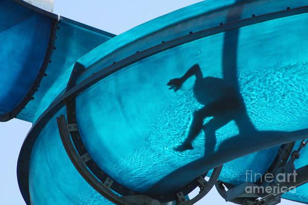 Slide Photograph - Kid Sliding A Blue Waterslide by Dwaschnig