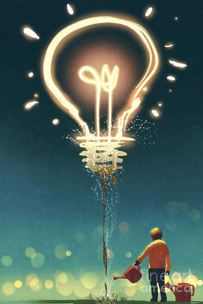 Wall Art - Digital Art - Kid Watering A Big Light Bulb On Dark by Tithi Luadthong