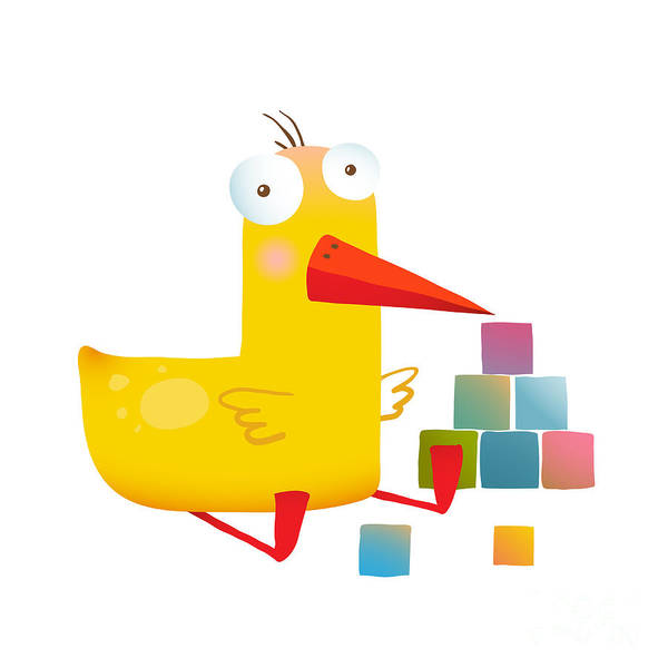 Wall Art - Digital Art - Kids Duck Playing Cubes Funny Toy by Popmarleo