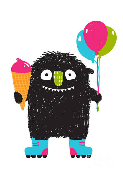 Wall Art - Digital Art - Kids Fun Monster With Ice-cream by Popmarleo