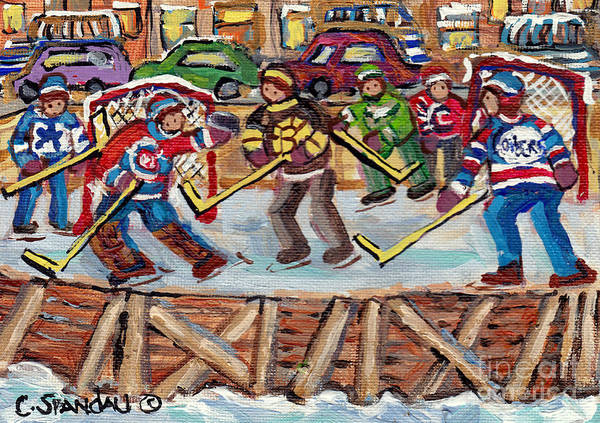 Painting - Kids Hockey Game Outdoor Local Hockey Rinks Psc Verdun Montreal Ndg Jersey Day C Spandau Hockey Art  by Carole Spandau