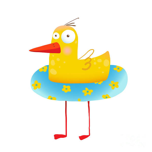 Wall Art - Digital Art - Kids Humorous Yellow Duck With Swimming by Popmarleo