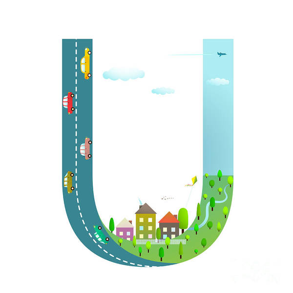 Wall Art - Digital Art - Kids Letter U Sign Cartoon Alphabet by Popmarleo