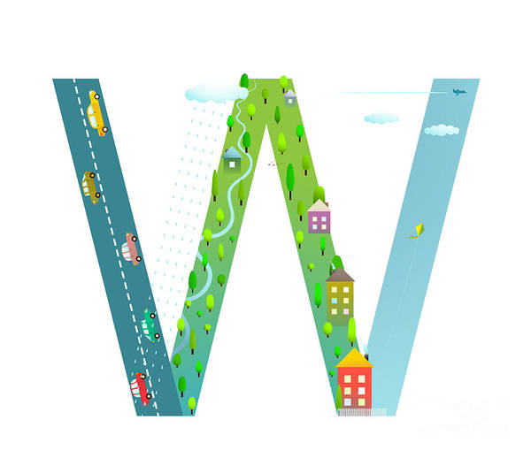 Cloud Type Wall Art - Digital Art - Kids Letter W Sign Cartoon Alphabet by Popmarleo