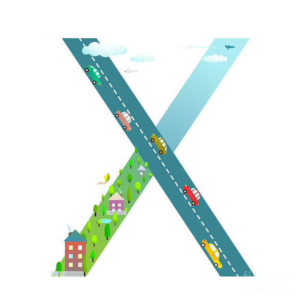 Wall Art - Digital Art - Kids Letter X Sign Cartoon Alphabet by Popmarleo