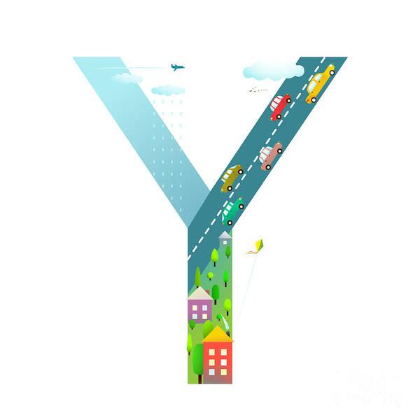 Cloud Type Wall Art - Digital Art - Kids Letter Y Sign Cartoon Alphabet by Popmarleo