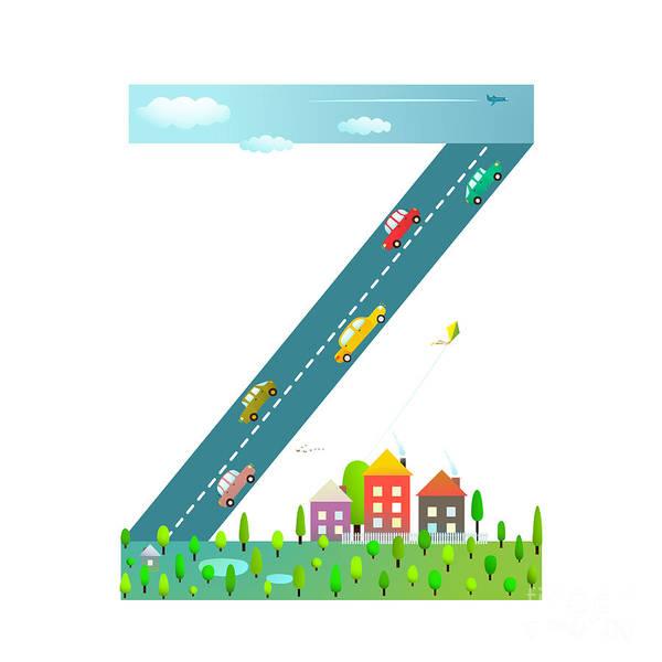 Cloud Type Wall Art - Digital Art - Kids Letter Z Sign Cartoon Alphabet by Popmarleo