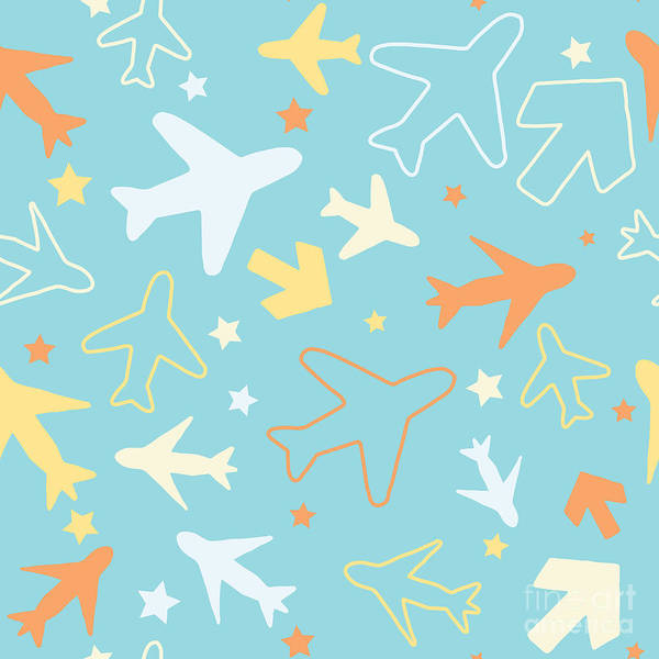 Seamless Wall Art - Digital Art - Kids Pattern Background With Color by Barkarola