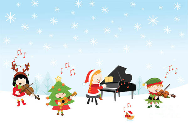 Reindeer Wall Art - Digital Art - Kids Playing Christmas Songs by Pinar Ince