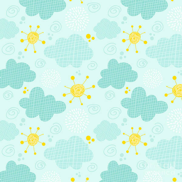 Wall Art - Digital Art - Kids Seamless Pattern Clouds And Sun by Martynmarin