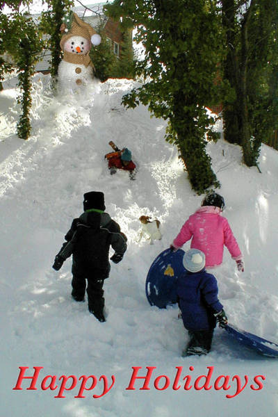 Photograph - Kids Sledding by Marvin Bowser