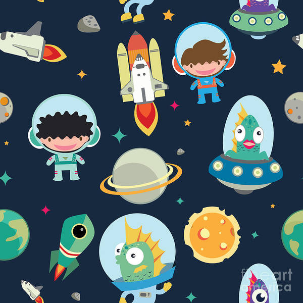 Cosmonaut Wall Art - Digital Art - Kids Space Seamless Pattern by Moobeer