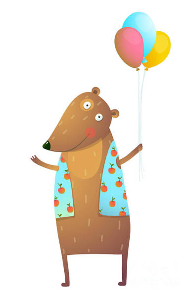 Wall Art - Digital Art - Kids Teddy Bear With Balloons Colorful by Popmarleo