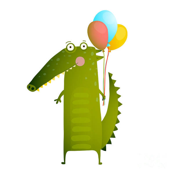 Air Balloon Wall Art - Digital Art - Kids Watercolor Style Crocodile With by Popmarleo