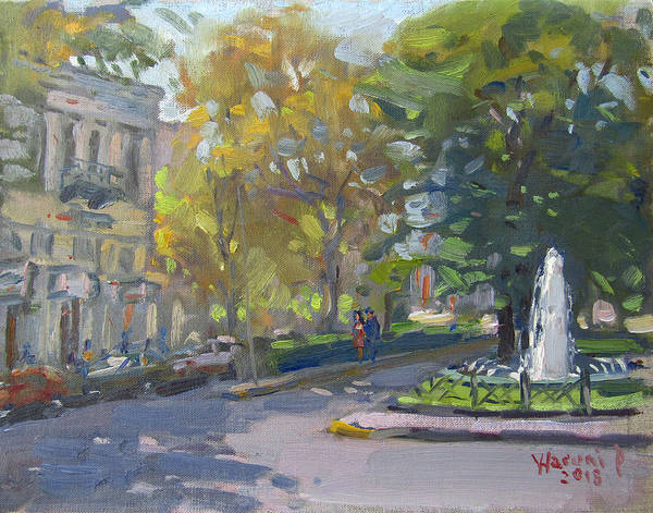 Town Square Wall Art - Painting - Kifissia Athens by Ylli Haruni
