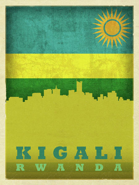 Wall Art - Mixed Media - Kigali Rwanda World City Flag Skyline by Design Turnpike