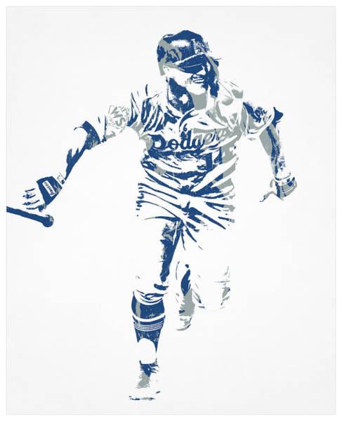 Wall Art - Mixed Media - Kike Hernandez Los Angeles Dodgers Pixel Art 50 by Joe Hamilton