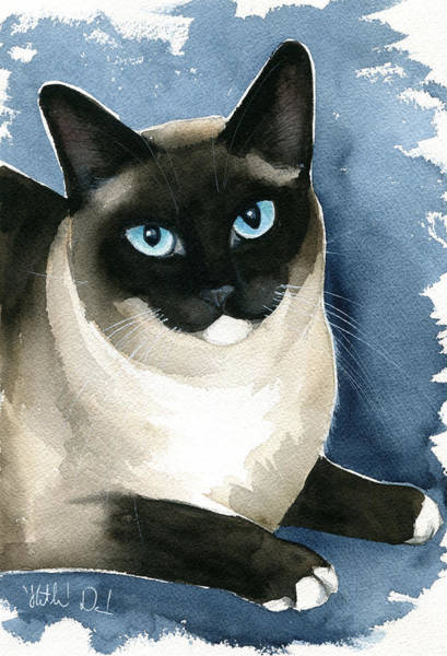 Painting - Kiki Snowshoe Siamese Cat by Dora Hathazi Mendes