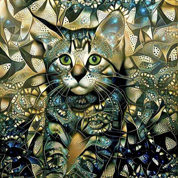 Digital Art - Kiki The Kitten - Warm Version by Peggy Collins