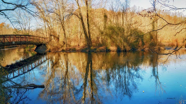 Felton Photograph - Killens Pond Bridge Reflections Pano by Brian Wallace