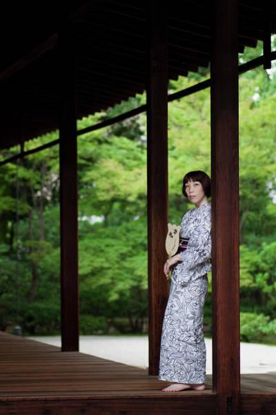 Bangs Photograph - Kimono Woman Cooling Herself by Masahiro Makino