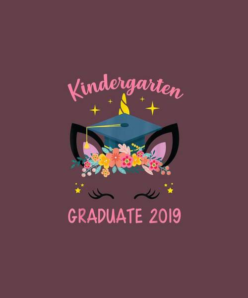 Wall Art - Digital Art - Kindergarten Graduate 2019 Cute Unicorn Face Shirt For Girl by Unique Tees